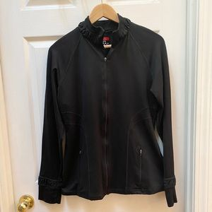 Spanx Black zip athletic Sweatshirt